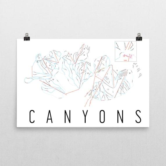 Canyons Resort Ski Map Art, Canyons Utah, Canyons Trail Map, Utah Art, on jackson hole map, snowbird lodging map, salt lake city international airport map, ski north carolina, ski home, california skiing map, disney map, ski tram, sundance map, downtown salt lake city map, ski nebraska,