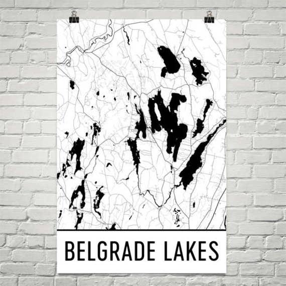 Belgrade Lakes Maine Belgrade Lakes Me Belgrade Lake Map Etsy