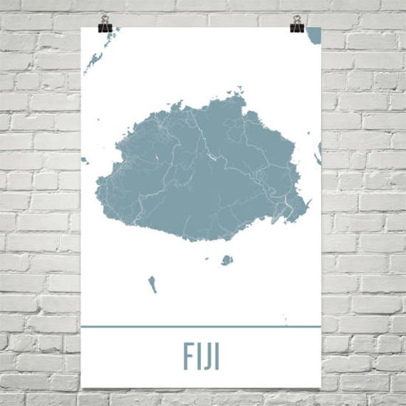Fiji Fiji Mapa Arte Fiji Fiji Impresion Isla Poster Regalos Fiji Mapa De Fiji Cartel Del Pacifico Sur Luna De Miel Islas Fiji Fiyi
