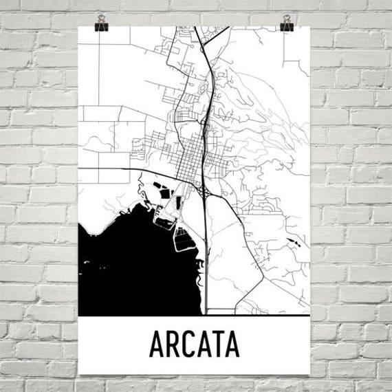 Arcata California Map Arcata Art Arcata Print Arcata Ca Etsy