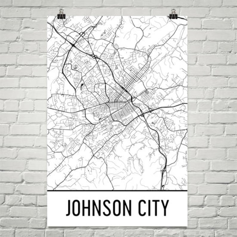 Mapa de Johnson City TN mapa arte de la ciudad de Johnson | Etsy