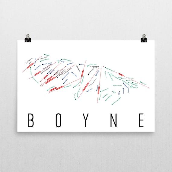 Ski In Michigan Map.Boyne Ski Map Art Boyne Michigan Boyne Trail Map Michigan Etsy