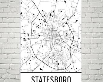 Statesboro Map, Statesboro State Art, Statesboro Print, Statesboro Georgia Poster, Statesboro Wall Art, Statesboro Gifts, Map of Georgia