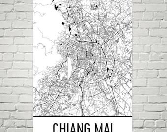 Chiang Mai Map, Chiang Mai Art, Chiang Mai Print, Chiang Mai Thailand Poster, Chiang Mai Wall Art, Thai Gifts, Map of Thailand, Thai Art