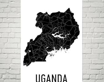 Uganda Map, Map of Uganda, Ugandan Art, Uganda Poster, Uganda Wall Art, Uganda Poster, Uganda Gifts, Uganda Decor, Ugandan, Map Art Print