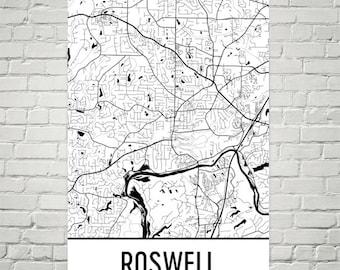 Roswell GA Map, Roswell State Art, Roswell Print, Roswell Georgia Poster, Roswell Wall Art, Roswell Gifts, Map of Georgia, Georgia Map, Art