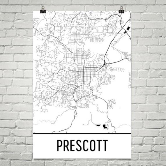 Prescott Map Prescott Arizona Art Prescott Print Prescott Etsy