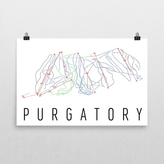 Purgatory Ski Map Art Purgatory Colorado Purgatory Trail Etsy