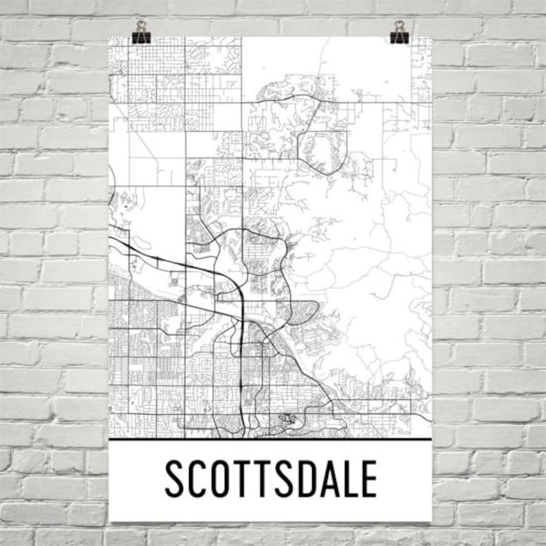 Scottsdale Map Scottsdale Art Scottsdale Print Scottsdale | Etsy