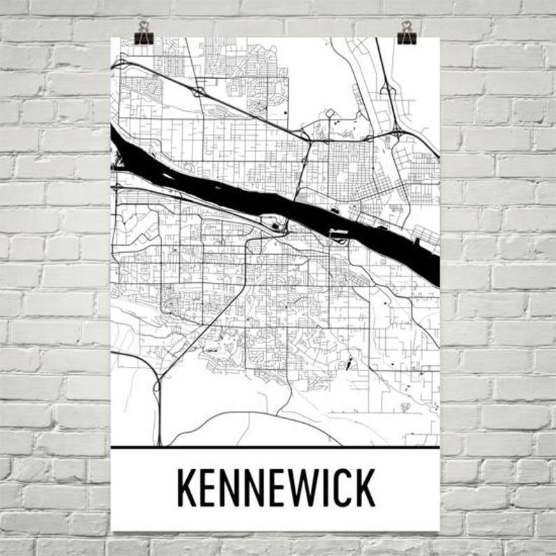 Kennewick Wa Map Tri Cities Art Kennewick Print Kennewick Etsy