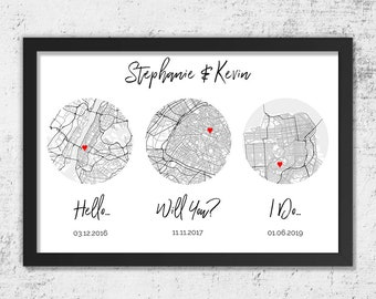 Paper Anniversary Gifts For Men, For Boyfriend, For Husband, 1 Year Anniversary, First Anniversary, 1st, Custom Map Art, Hello, Will You