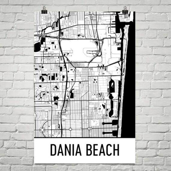 Dania Beach Florida Map.Dania Beach Map Dania Beach Art Dania Print Dania Beach Fl Etsy