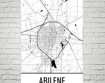Abilene Map, Abilene Art, Abilene Print, Abilene TX Poster, Abilene Wall Art, Abilene Gift, Map of Texas, Texas Poster, Texas Decor, Texas