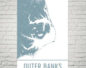 Outer Banks Map, Outer Banks Art, Outer Banks Print, Outer Banks NC Poster, Outer Banks Wall Art, Outer Banks Gift, Map of Outer Banks, Art