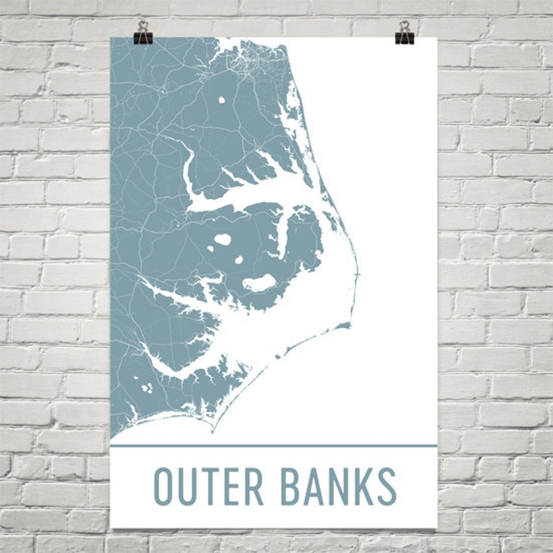 Outer Banks Map Outer Banks Art Outer Banks Print Outer Etsy
