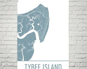 Tybee Island Map, Tybee Island Art, Tybee Island Print, Tybee Island Georgia Poster, Map of Georgia, Georgia Poster, Beach Print