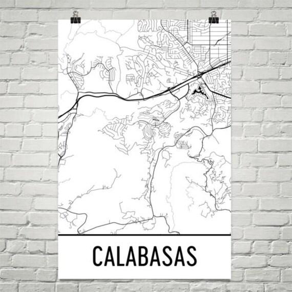 Calabasas California Map Calabasas Art Calabasas Print Etsy