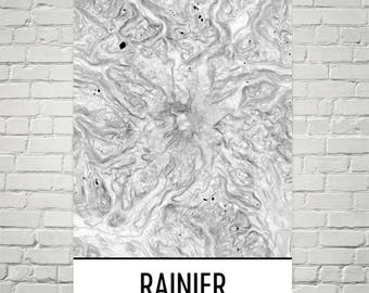 Mount Rainier Print, Mt. Rainier Washington Poster, Rainier Topographic Map, Contour Lines, Hiking Gift, Cascade Mountains, Mountain Art