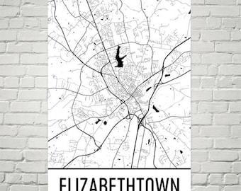 Elizabethtown Map, Elizabethtown Art, Elizabethtown Print, Elizabethtown KY Poster, Wall Art, Kentucky Gifts, Map of Kentucky, Poster, Decor