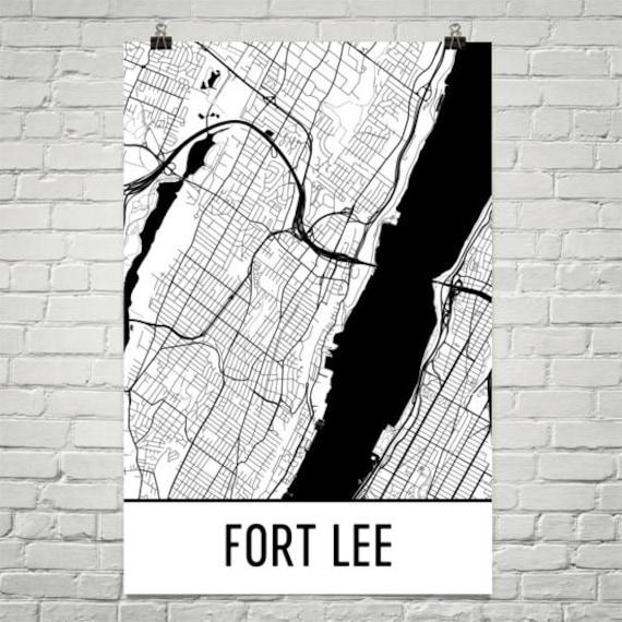 Fort Lee New Jersey Map.Fort Lee Nj Map Fort Lee Art Fort Lee Print Fort Lee Etsy