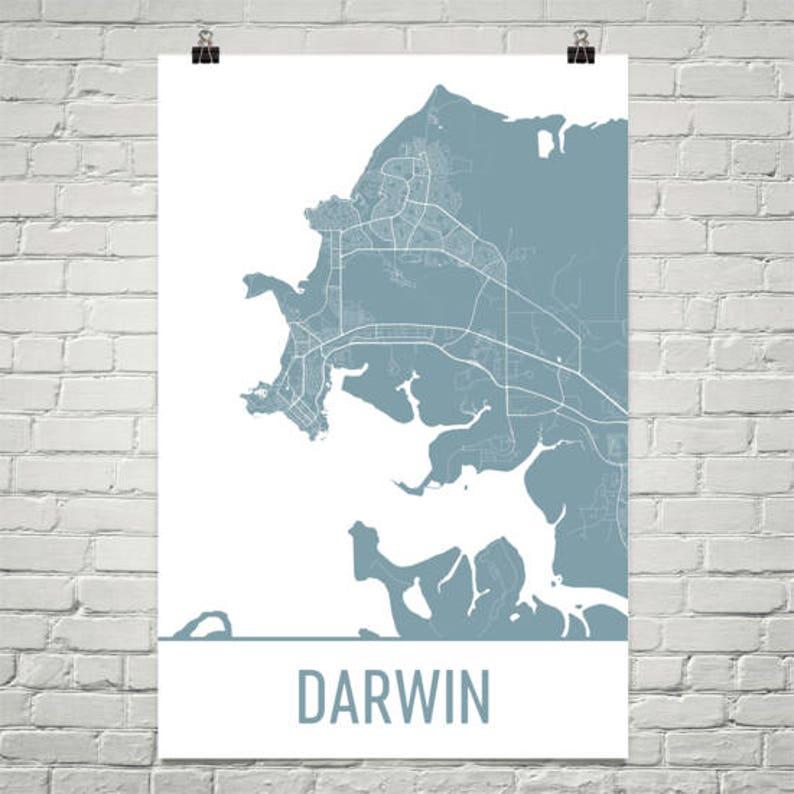 Darwin Map Darwin Art Darwin Print Darwin Australia Poster | Etsy on
