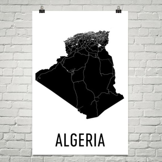 Carte Or Algerie Poste.Algerie Carte De Lalgerie Poster Art Algerien Algerie Etsy
