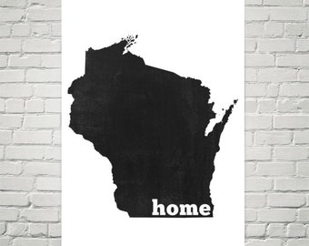 Wisconsin Home, Map of Wisconsin, Wisconsin State, Wisconsin Gifts, Wisconsin Map, Wisconsin Wall Art, Sign, Print, Home, Decor, Poster