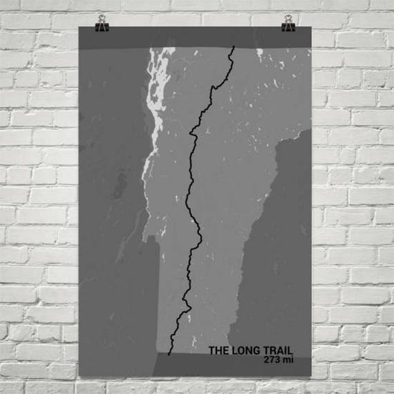 The Long Trail Map, The Long Trail Vermont Print, Vermont Trail Sign,  Hiking Trail Map, The Long Trail Poster, John Muir Wall Art, Hiker