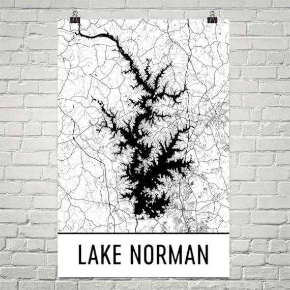 North Carolina Map Drink Coaster Set Lake Norman