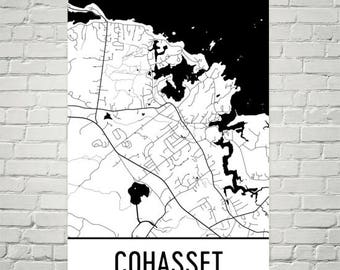 Cohasset Map, Cohasset Art, Cohasset Print, Cohasset MA Poster, Cohasset Wall Art, Cohasset Gift, Map of Massachusetts, Massachusetts Poster