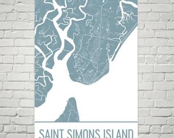 Saint Simons Island Map, St Simons Island Art, Simons Island Print, Saint Simons Island Georgia Poster, Map of Georgia, Poster, Beach Print