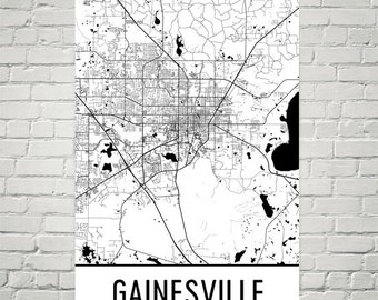 Gainesville Map, Gainesville FL Art, Gainesville Print, Gainesville Florida Poster, Gainesville Wall Art, Map of Gainesville, Decor, Gift
