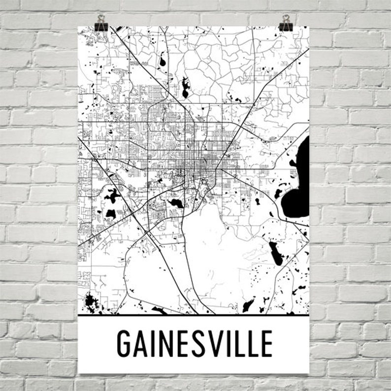 Gainesville Map Gainesville Fl Art Gainesville Print Etsy