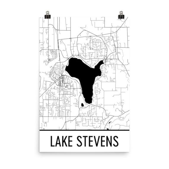 Lake Stevens Washington Map.Lake Stevens Washington Lake Stevens Wa Washington Map Etsy