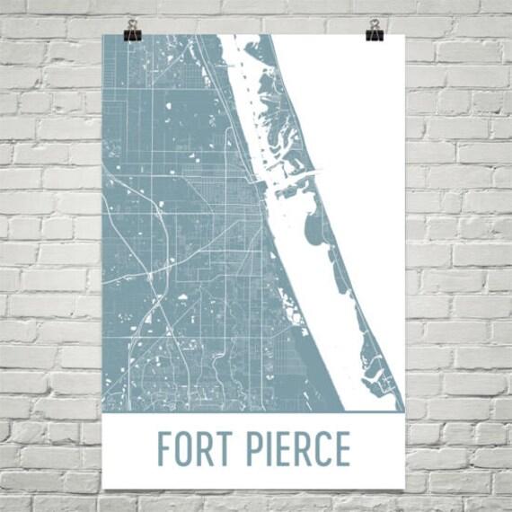 Map Of Fort Pierce Florida.Fort Pierce Map Ft Pierce Art Fort Pierce Print Fort Pierce Etsy