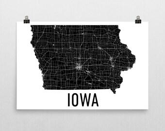 Iowa State, Iowa Map, Iowa Wall Art, Iowa Print, Iowa Art, Iowa Sign, Iowa Gifts, Iowa Decor, Iowa Poster, Map of Iowa, Iowa Home