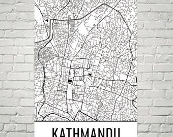 Kathmandu Map, Kathmandu Art, Kathmandu Print, Kathmandu Nepal Poster, Kathmandu Wall Art, Kathmandu Poster, Kathmandu Gift, Art Print