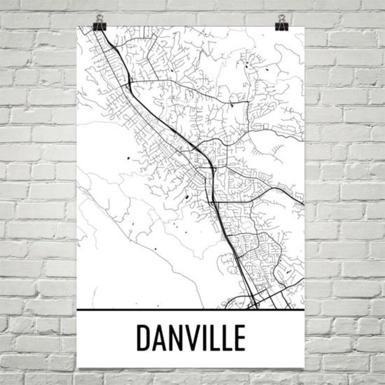 Danville Map Danville Art Danville Print Danville CA | Etsy on