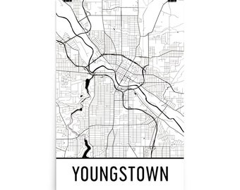 Youngstown Map, Youngstown OH Art, Youngstown Print, Youngstown Ohio Poster, Youngstown Wall Art, Map of Youngstown OH, Gift, Decor, Map Art