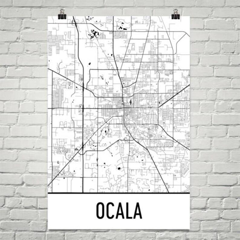 Ocala Fl Map Ocala Florida Art Ocala Print Ocala Poster Etsy