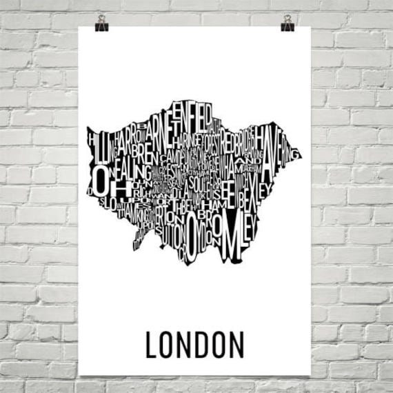 Map Of London With Neighborhoods.London Typography Neighborhood Map Art City Print London Wall Art London Art Poster Gift Map Of London London Uk London England