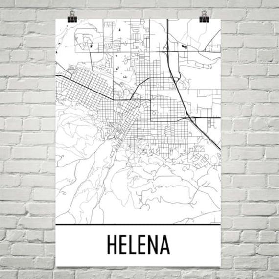Helena Montana Map Helena Art Helena Print Helena Mt Etsy