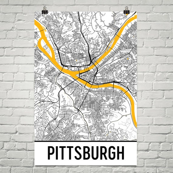 Pittsburgh PA Map Art Print   Etsy