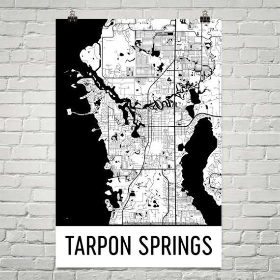 Tarpon Springs Florida Map.Tarpon Springs Map Tarpon Springs Art Tarpon Springs Print Etsy