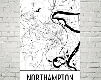 Northampton Map, Northampton Art, Northampton Print, Northampton MA Poster, Wall Art, Gift, Map of Massachusetts, Massachusetts Poster