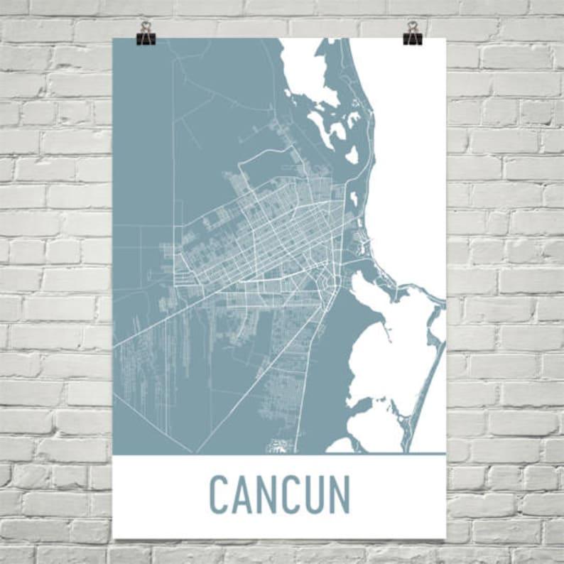 Cancun Map Cancun Art Cancun Print Cancun Mexico Poster | Etsy