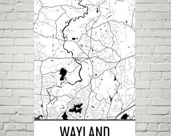 Wayland Map, Wayland Art, Wayland Print, Wayland MA Poster, Wayland Wall Art, Wayland Gift, Map of Massachusetts, Massachusetts Poster