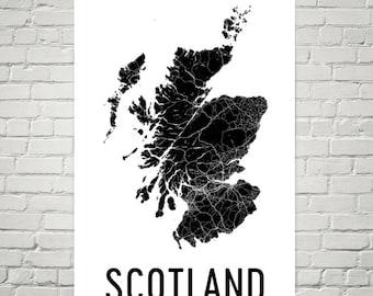 Scotland Map, Map of Scotland, Scotland Print, Scotland Wall Art, Scotland Poster, Scottish Decor, Scottish Art, Scottish Gifts, Scotland