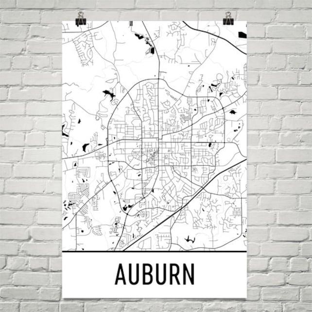 Auburn Map Auburn Art Auburn Print Auburn AL Art Poster | Etsy