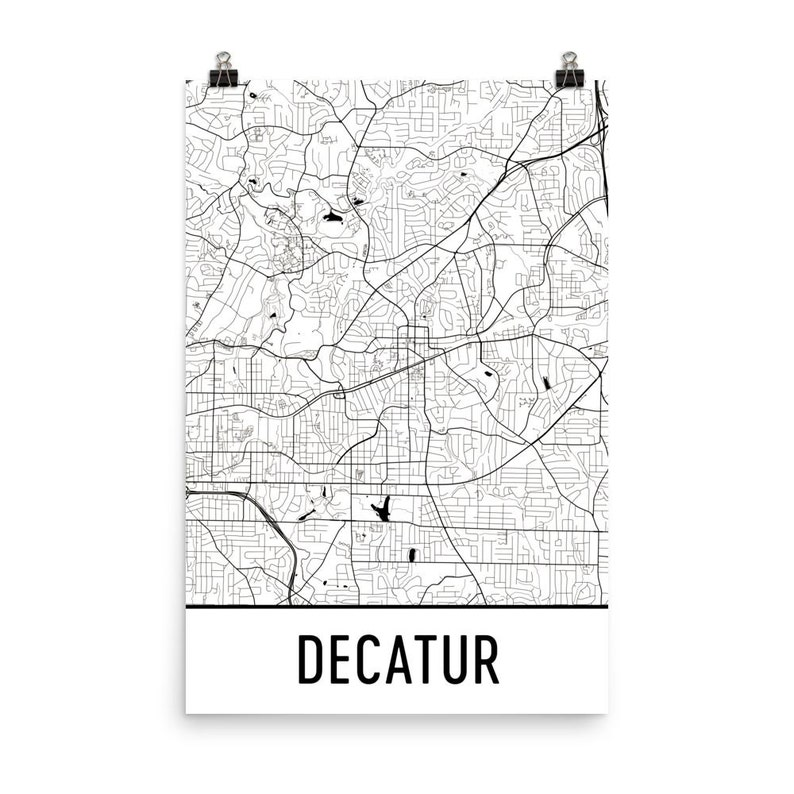 Decatur Map Decatur Ga Art Decatur Print Decatur Georgia Etsy